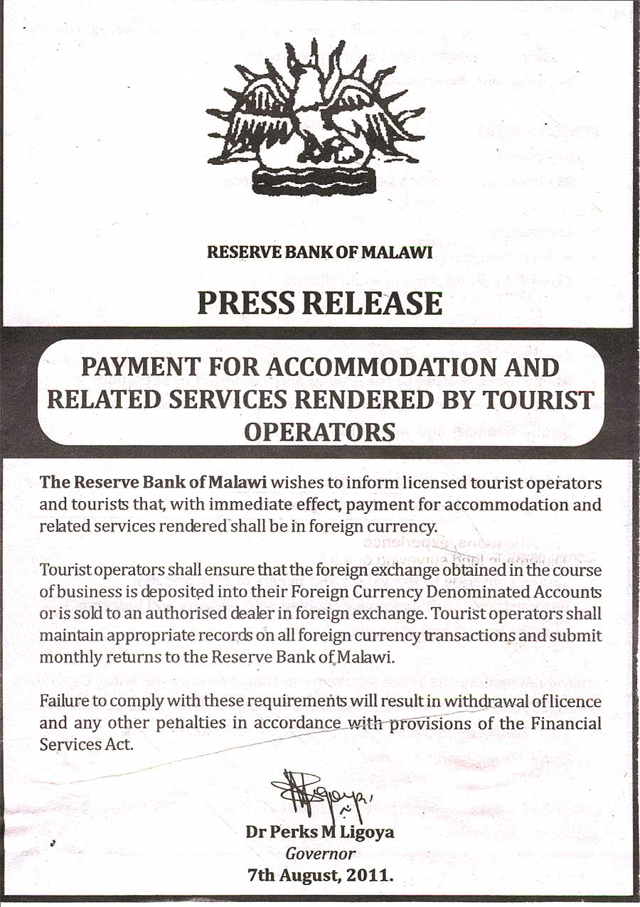 Malawi Government Press Release